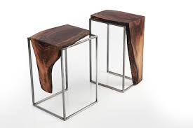 Black Walnut Table Top by Hand Crafted Side Table Solid Black Walnut Top With Metal Base