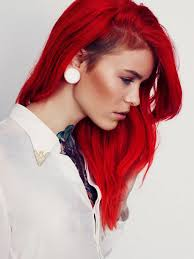 red long hair with shaved side this style is good for wavy and