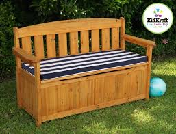 Garden Bench With Storage Furniture Decorative Outdoor Storage Bench Seat With Blue White