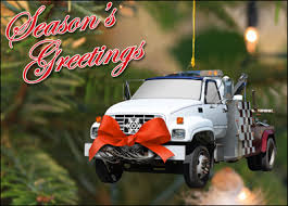 tow truck ornament glossy white 1749 tow truck