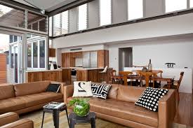 Leather Sofas Perth Perth Camel Leather Sofa Living Room Transitional With Glass Door