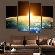 living room canvas 4pieces dream blue starry sky wall art picture home decoration