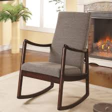 mid century gray accent rocking chair with foam padded seat and