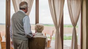 Big Window Curtains Woman Open Curtains At Evening 4k Big Window Curtains With View