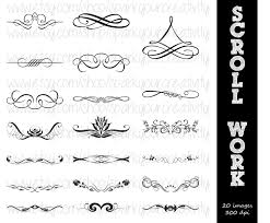 ornamental scroll work silhouettes commerical use