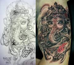 black ink lord ganesha tattoo design for half sleeve