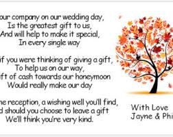 wedding gift list poems honeymoon request etsy