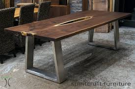 live edge table chicago black walnut live edge table with stainless steel trapezoid legs