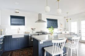 blue and gold mid century kitchen gets perfect topper with roman