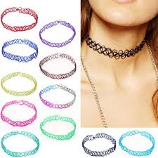 choker necklace tattoo images 2pcs lot new collares vintage stretch tattoo choker necklace for jpg