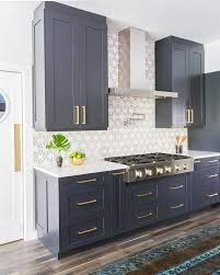 interior blue grey painted kitchen cabinets for leading blue