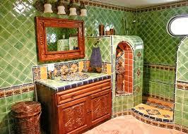 spanish tile bathroom ideas spanish tile backsplash rectangular wall mounted clear glass