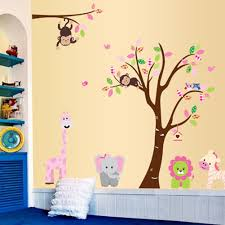amazon com cartoon cute monkeys big trees removable wall stickers amazon com cartoon cute monkeys big trees removable wall stickers home decor decals for children s room nursery set of 2 sheets animal tree baby