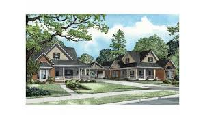 Cottage House Plans With Porte Cochere by Duplex With Shared Porte Cochere Hwbdo56284 Country Multi Family