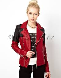 nice ladies leather jackets red leather jacket women red biker