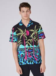 black palm tree print sleeve shirt topman usa