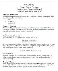 16 create a syllabus template home theme preschool lesson plan
