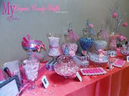 coral blush and silver wedding candy buffet by my elegant candy