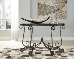Distressed Sofa Table by Ashley T582 4 Jonidell Scroll Design Sofa Table Distressed Look Top