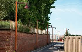 urban lamppost contemporary steel wooden ruka valmont france