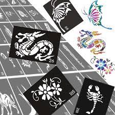 30pcs lot glitter airbrush tattoo stencil templates flowers