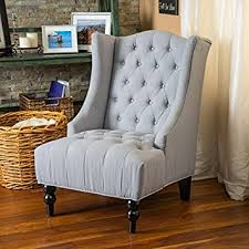 Silver Accent Chair Clarice Wingback Silver Tufted Fabric Accent