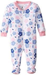petit lem baby newborn footed pajama sleeper flowers are