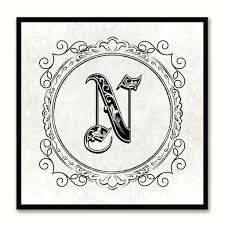 alphabet letter initial typography kids bedroom wall art home alphabet n white canvas print black frame kids bedroom wall decor home art