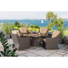 Patio Furniture Sets With Fire Pit by Berkley Jensen Antigua 5 Piece Wicker Fire Pit Chat Set Bjs