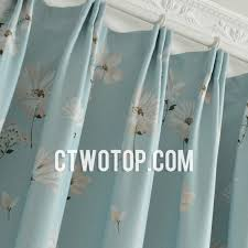 Light Blue Curtains Blackout Light Sky Blue Floral Printed Blackout Living Room Curtains