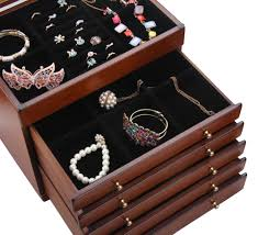 jewellery box rings images Rowling brown large vintage wooden jewellery boxes velvet storage jpg