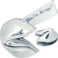 silver fortune cookie gift silver hinged fortune cookie box
