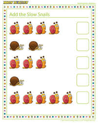 add the slow snails u2013 elementary addition worksheet for