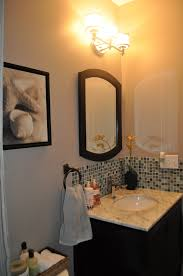 Powder Room Decorating Ideas Contemporary I Added A Simple Glass Tile Backsplash To My Powder Room And