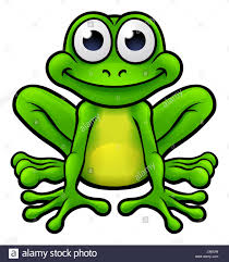 an illustration of a cute cartoon frog mascot character peeking