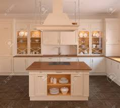 cuisine blanche classique intérieur de cuisine blanche classique 3d render banque d images