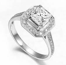 cheap wedding rings uk lovely halo wedding ring 1 00 carat princess cut diamond on gold