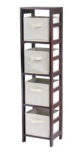 amazon com winsome wood 4 shelf narrow shelving unit espresso