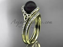 celtic wedding sets celtic black pearl bridal sets by anjaysdesigns