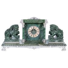 Mantle Piece Clock Silvered Bronze Mounted Chinese Spinach Jade Portico Mantle Clock