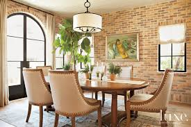 The Brick Dining Room Furniture White And Cream Contemporary Dining Room Love The Brick Wall