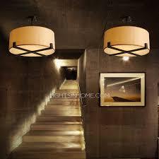 Fabric Drum Pendant Lights Iron Semi Flush Ceiling Light Drum Fabric Shade