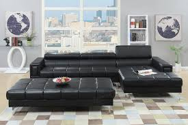 Black Sectional Sofa With Chaise Contemporary Black Bonded Leather Cube Tufted Sectional Sofa
