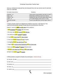 correlative conjunctions worksheet worksheets releaseboard free