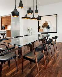 Black Leather Chairs And Dining Table Dining Room Dining Room Decorating Idea With Rectangular Glass