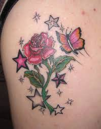 exotic twin rose flowers shoulder tattoo design for women