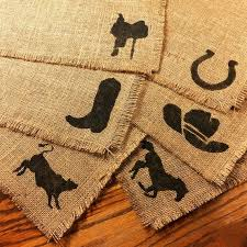 rodeo home decor 6 burulap placemats 12 x15 hand painted rodeo home decor