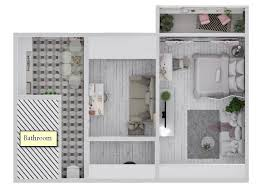 Floor Plans With Furniture White Romantic Dream Apartment For Three Girls Home Interior