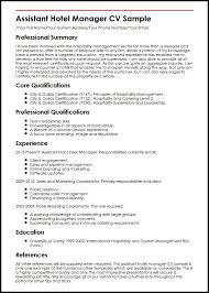 Hotel Front Desk Resume Sample by Assistant Hotel Manager Cv Sample Myperfectcv