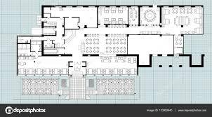 standard cafe furniture symbols on floor plans u2014 stock vector